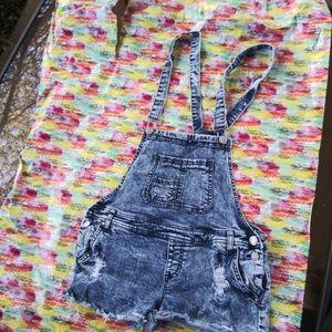 Size 13 distressed denim overalls